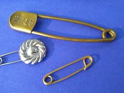 Vintage Antique Lot Of Three Pins, Copper, Brass And Silver Tone - 3 Sizes