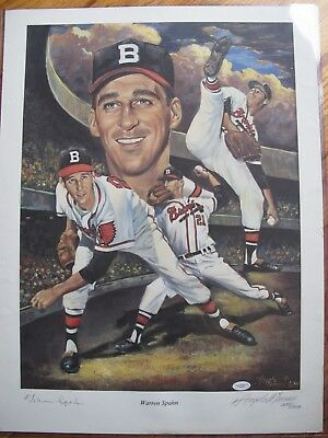 Numbered 18 x 24 Litho of Warren Spahn by Angelo Marino Signed by Both  JSA