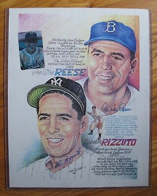 Pee Wee Reese & Phil Rizzuto Dual Signed  11x14 Litho by Ken Haag 1993