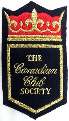 "Canadian Club Society Patch Embroidered on Felt Canadian Whisky NOS 3"" x 5"""