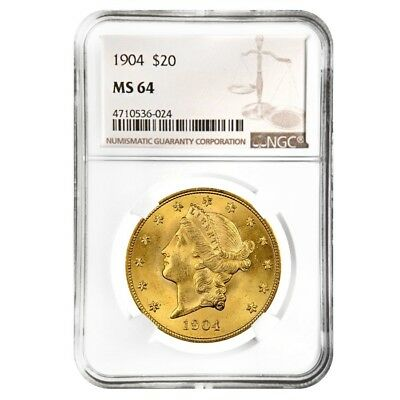 1904 $20 Liberty Head Double Eagle Gold Coin NGC MS 64