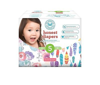 Honest Diapers Club Box Rose Blossom Painted Feathers Size 5  27+ LBS 50 Count