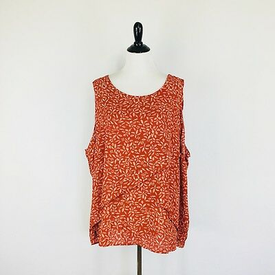 d54483ce86f Ava   Viv Womens Blouse Size 4X Orange Floral Layered Sleeveless Pullover  Spring