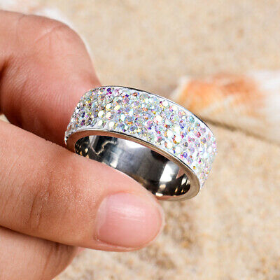 Fashion Women Crystal Stainless Steel Wedding Band Ring Jewelry Gift Size 7-12