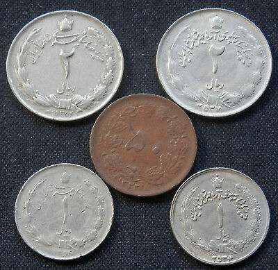 5 Different Type Vintage Coins From The Years Of The Shah