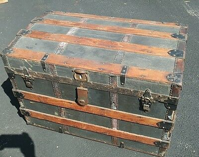 Vintage Antique Steamer Trunk manufactured for R. H. Macy & Co.