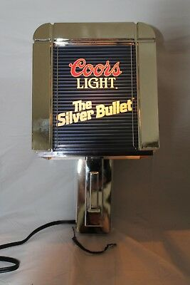 Vintage 1988 Coors Light Silver Bullet Wall Lamp, Scone, New Old Stock, T&W