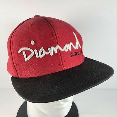 0595561557f DIAMOND SUPPLY CO Men s Snapback Baseball Hat Adjustable Skate Red Black  White