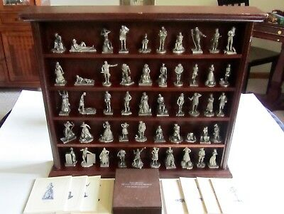 Franklin Mint Saturday Evening Post Pewter 50 piece Figure Set with Display NICE