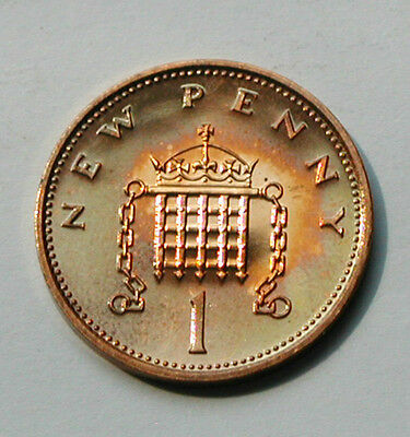 1971 UK (British) Coin - 1 New Penny - UNC - superior toning (from mint set)