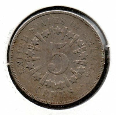 1866 P Shield Nickel 5c EF/XF Extremely Fine, Rays & Stars, BEAUTIFUL 5 Cents