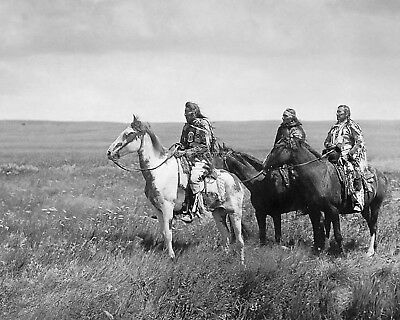 The Three Chiefs-Piegan By Edward S. Curtis Circa 1900 - 8X10 Photo (Cc-145)