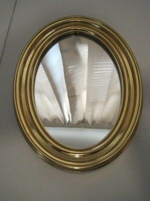 """HOME INTERIORS Gold OVAL Wall Hanging MIRROR 6 3/8"""" x 8 3/8"""" x 3/4"""""""