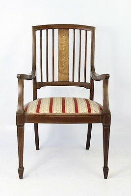 Small Victorian Inlaid Rosewood Dressing Table Chair - Bedroom Tub Open Armchair