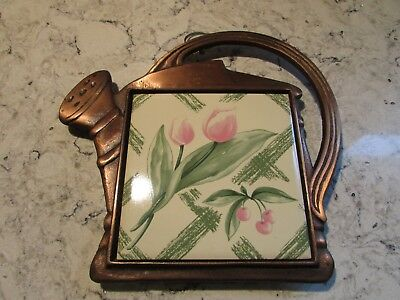 Pfaltzgraff GARDEN PARTY Cast Iron TRIVET- Flower Watering Can Wall Hanging