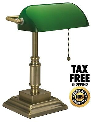 Vintage Bankers Lamp Green Shade Desk Glass Student Piano Table Light Adjustable