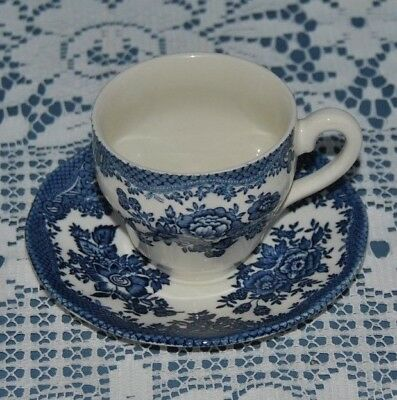 Beautiful Enoch Wedgwood Tunstall, Blue Glazed Demitasse, Tea Cup & Saucer