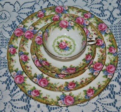"Beautiful Rare, PARAGON, ""Tapestry Rose"" Double Warrant, 5 Pce. Place Setting"