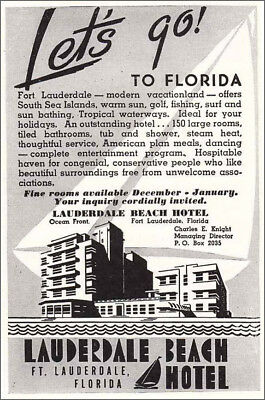 1946 Lauderdale Beach Hotel: Let's Go to Florida Vintage Print Ad