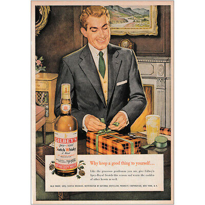 1953 Gilbey's Scotch Whisky: Keep a Good Thing to Yourself Vintage Print Ad