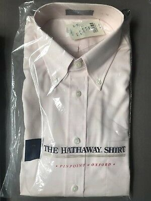 Vintage NOS 80s Hathaway Pima Pinpoint Oxford Pink Dress Shirt 16 X 35