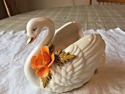 VTG Swan Figurine Gold Beak Orange Flower Planter Candy Dish PR-52B Made Japan
