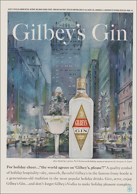 1960 Gilbey's Gin: New York City Park Avenue Vintage Print Ad