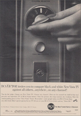 1962 RCA Vista TV: Channel Selector, Black and White Vintage Print Ad
