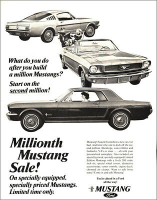 1966 Ford Mustang: Millionth Mustang Sale Vintage Print Ad