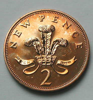 1971 UK (British) Coin - 2 Pence (2p) - AU++ toned-lustre (from mint set)