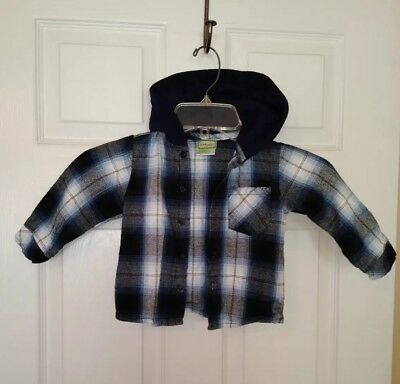 Kidget 18 Month Baby Boy Blue White Plaid Hooded Flannel Shirt Button Front