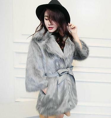 Hot Women's Fashion Mid-Calf Fluffy Faux Fur Warm Lapel Girls Minute Sleeve Coat