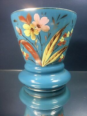 Antique English Bristol Blown Blue Milk Glass Hand Painted Enamel Flower Nouveau