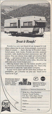 1972 Prowler Travel Trailer: Treat It Rough Vintage Print Ad