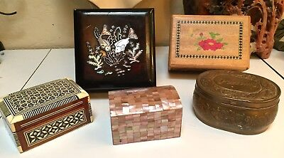 Five Antique/Vintage Asian, Middle Eastern, Etc. Wood, Metal And Inlay Boxes
