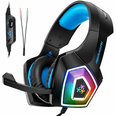 3.5mm V-1 LED Mic Stereo Surround Gaming Headset Bass For PC Laptop PS4 Xbox One