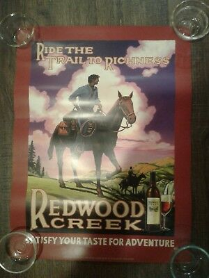 Lot of 2 Redwood Creek Frei Bros. 2006-2007 Wine Posters Skiing & Horse Rider