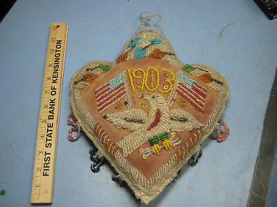 1903 Patriotic Beaded Pillow w Flag and Eagle, Handmade Indian Arrowhead Shape