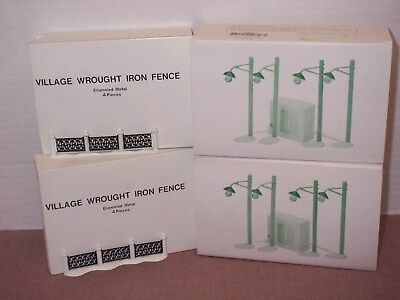 Lot Village Accessories Dept 56~Country Road Lampposts~Wrought Iron fence