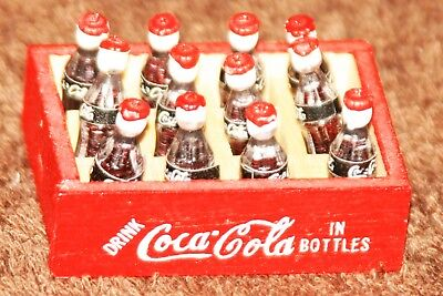 Coca Cola Miniature Wooden Crate Black Neck Label Red Cap Doll House Furniture