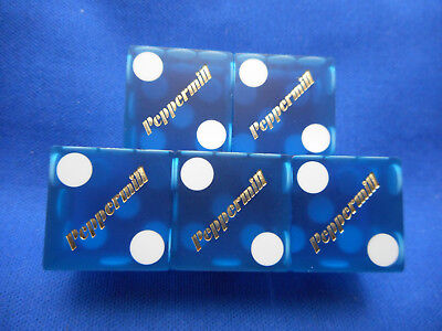 Stick of 5 Peppermill, Reno, NV Dice -Matte Blue, #s 5499