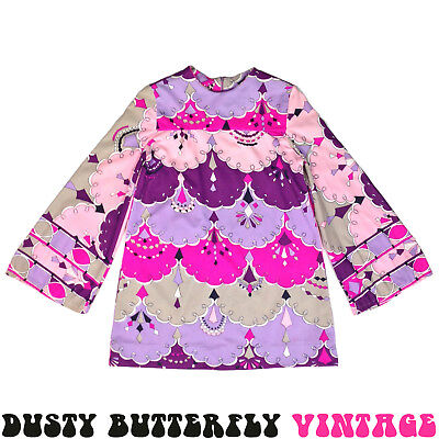 VINTAGE 60s 70s GIRLS DRESS Kids PSYCHEDELIC Bell Sleeves COLORFUL Sz L 12 14