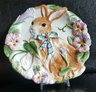 """Adorable Fitz and Floyd HALCYON Serving Plate Easter Bunny Rabbit Pansies, 9.5"""""""