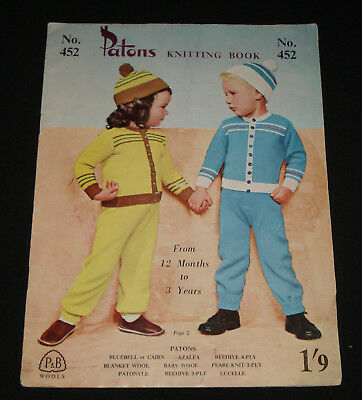 VINTAGE 1940s / 50s PATONS KNITTING BOOK  #452 KID'S JUMPERS , TOPS , OUTFITS