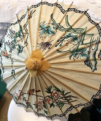 Vintage Asian Chinese Parasol Oil Paper Bamboo Umbrella Decor Photo Oriental 18""