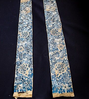 Pair of Chinese Sleeve Bands With Gold Cording Embroidery Forbidden Stitch