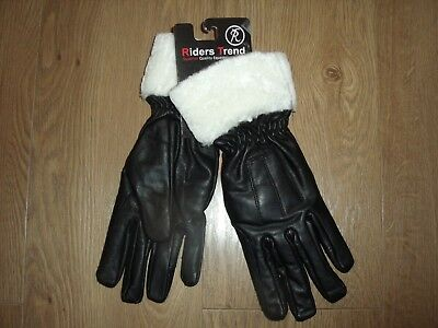 Riders Trend Leather Gloves Fur Top Horse Equestrian Black XL Men's Women's New