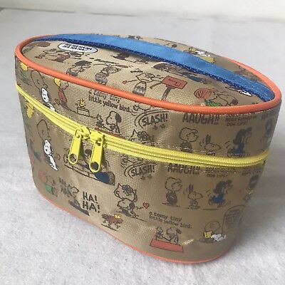 Peanuts Snoopy Japan Tan Brown Small Train Case Style Makeup Bag