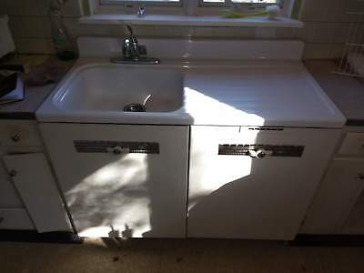 Vtg Westinghouse Electric Sink Automatic Dishwasher White Counter Mounted 1950s