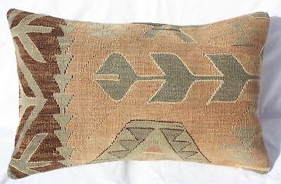 "ANTIQUE TURKISH KILIM RUG LUMBAR PILLOW 25""x16"", GEOMETRIC LUMBAR KILIM CUSHION"